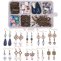 SUNNYCLUE DIY Earring Making, with Handmade Printed Porcelain Beads, Tibetan Style Alloy Links/Bead Caps and Brass Earring Hooks, Mixed Color, 11.5x7.5x3.3cm
