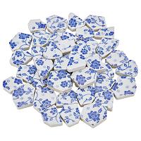 SUPERFINDINGS Porcelain Mosaic Tlies, for Home Decoration or DIY Crafts, Irregular Pentagon, Marine Blue, 24.7x29x6.2mm, 280g/box