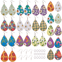SUNNYCLUE DIY Dangle Earrings Kits, with PU Leather Big Pendants, Iron Jump Rings and Brass Earring Hooks, teardrop, with Flower Pattern, Mixed Color, 80pcs/set