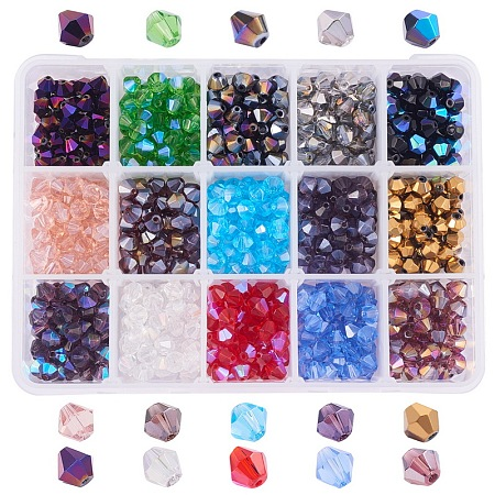 PandaHall Elite 1 Box (about 750 pcs) 15 Color 6mm Faceted Bicone Glass Beads Assortment Lot for Jewelry Making