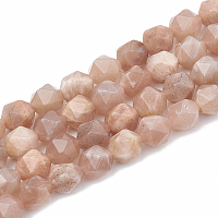 Arricraft Natural Sunstone Beads Strands, Star Cut Round Beads, Faceted, 6~7x5~6mm, Hole: 1mm, about 60~63pcs/strand, 14.96 inches(38cm)