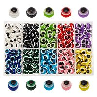Round Evil Eye Resin Beads, Mixed Color, 10x9mm, Hole: 1.8~2mm, 10 colors, about 30pcs/color, 300pcs/box