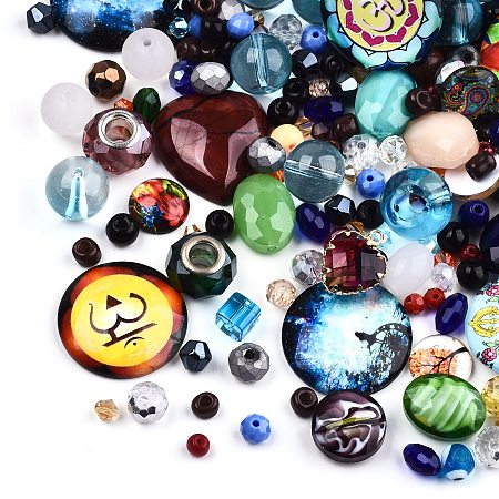 ARRICRAFT Mixed Style Glass Pendants/Cabochons/Beads, Mixed Shapes, Mixed Color, 1~30x1~30x1~15mm, Hole: 0.5~6mm