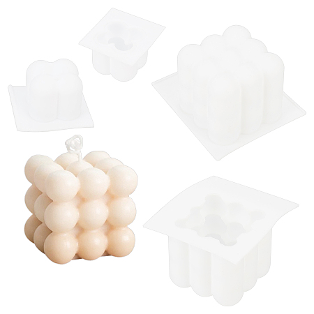 Candle Making Tool Sets, with Silicone Molds, Candle Wick , Mixed Color, 66.5~88x57~84x38~60mm, Inner Diameter: 45~52.5x45~52.5mm, 2pcs