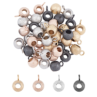 Unicraftale Vacuum Plating 304 Stainless Steel Hanger Links, Textured, Rondelle Bail Beads, Mixed Color, 9x6x4.5mm, Hole: 2mm, Inner diameter: 3mm, 40pcs/box