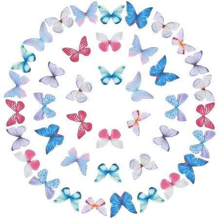 Butterfly Wings Organza Fabric Ornaments, for DIY Jewelry Crafts Making Earring Necklace Hair Clip Decoration, Mixed Color, 100pcs/set