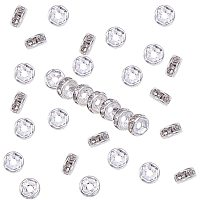 Brass Rhinestone Spacer Beads, Grade A, Straight Flange, Rondelle, Crystal, Silver, 5x2.5mm, Hole: 1mm, 200pcs/box