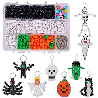 SUNNYCLUE DIY Keychain, Resin Large Hole Beads, Iron Key Clasp Findings and Polyester Cord, Halloween Style, Platinum, Plastic Boxes: 14x10.8x3cm