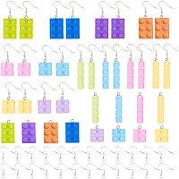 SUNNYCLUE DIY Dangle Earring Making Kits, Plastic Building Blocks Pendants and Platinum Plated Brass Earring Hooks, Mixed Color, Earring Hooks: 19mm, Pin: 0.7mm, 24pcs/set