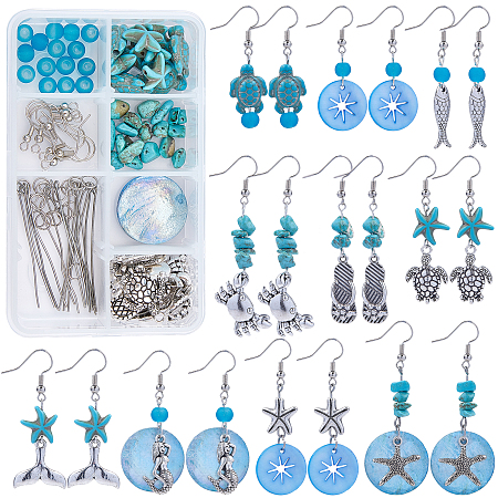 SUNNYCLUE DIY Ocean Theme Earring Making Kits, inclu Glass & Synthetic Turquoise Beads, Shell Pendants, Alloy Pendants & Beads & Cabochons, Brass Earring Hooks, Antique Silver & Platinum