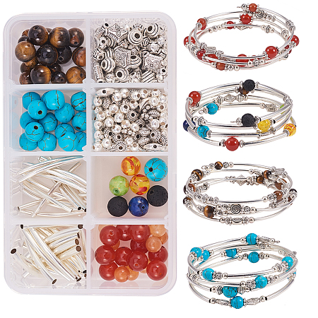 SUNNYCLUE DIY Bracelet Making, Natural/Synthetical Beads, Brass/Alloy Beads and Memory Wire, Mixed Color, 110x70x30mm