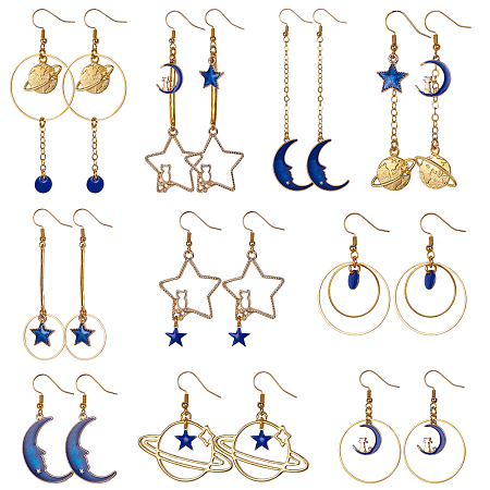 SUNNYCLUE DIY Earring Making, with Alloy Enamel Charms/Pendants and Metal Earring Findings, Mixed Color, 7.4x7.2x1.7cm
