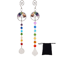 Gorgecraft Crystals Chandelier Suncatchers Prisms, Octogon Chakra Hanging Pendants, with Gemstone Chips, for Home, Garden Decoration, Flat Round with Tree of Life, Mixed Color, 283~308mm; 2pcs/set