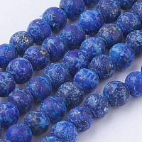 Arricraft Dyed Natural Lapis Lazuli Round Beads Strands, Frosted, 4~4.5mm, Hole: 1mm, about 85~90pcs/strand, 14.9 inches(38cm)