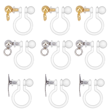 Unicraftale 304 Stainless Steel Clip-on Earring Component, with Plastic, Mixed Color, 13x9x6mm, Hole: 1.5mm; 30pcs/box