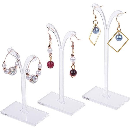 Plastic Earring Display, Bean Sprout Shape Earrings Display Stand, Jewelry Tree Stand Stand, Three-piece Set, Clear, 38x80mm, 38x100mm, 38x120mm; 3pcs/set