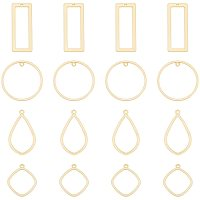 ARRICRAFT Smooth Surface Alloy Open Back Bezel Pendants, For DIY UV Resin, Epoxy Resin, Pressed Flower Jewelry, Rhombus & Teardrop & Ring & Rectangle, Matte Gold Color, 40pcs/box