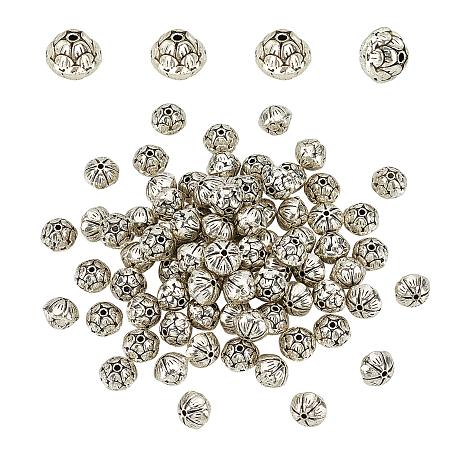 PANDAHALL ELITE Tibetan Style Alloy Beads, Lead Free & Cadmium Free, Lotus Flower, Antique Silver, 10x8mm, Hole: 1mm; 80pcs/box