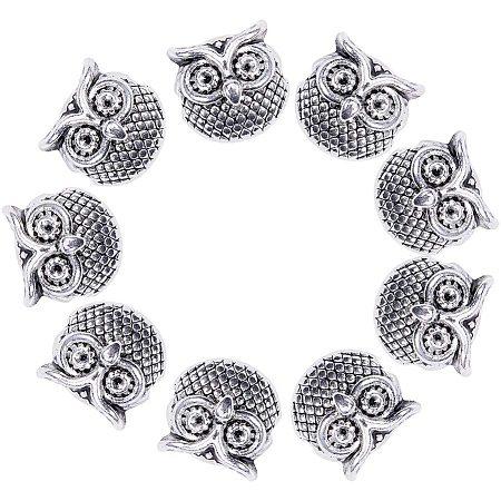 Tibetan Style Alloy Beads, Owl, Antique Silver, 11x11x8mm, Hole: 1.6mm, 20pcs/box