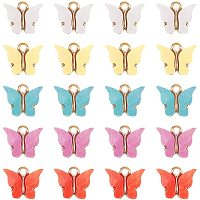 Alloy Pendants, with Resin and Glitter Powder, Butterfly, Golden, Midnight Blue, 13x15x3.5mm, Hole: 2mm; 5 Colors, 6pcs/color, 30pcs/box