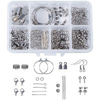 Unicraftale 304 Stainless Steel Finding Sets, Stud Earring Findings, Jump Rings, Lobster Claw Clasps, End Chains, Ribbon Ends, Pin, Ear Nuts, Bead Caps, Stainless Steel Color, 110x70x30mm