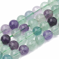 Arricraft Natural Fluorite Beads Strands, Round, 4mm, Hole: 1mm, about 100pcs/strand, 15.7 inches