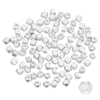 PANDAHALL ELITE Brass Beads Spacers, Faceted, Square, Silver, 2.5x2.5x2.5mm, Hole: 1.2mm; 100pcs/box
