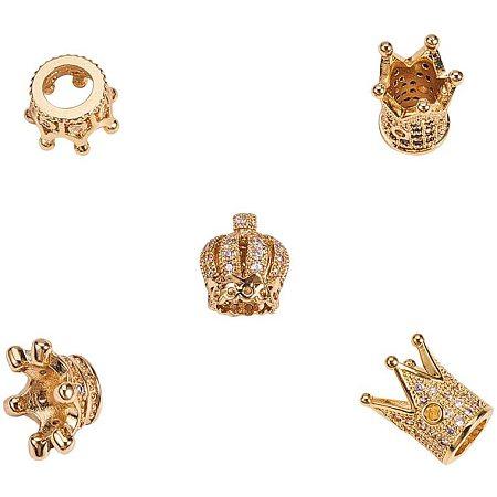 Brass Micro Pave Cubic Zirconia Beads, Crown, Golden, 6.8x5.2x1.1cm; 11~14x7~10, Hole: 1~6mm, 5pcs/box