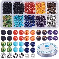 SUNNYCLUE DIY Chakela Bracelet Making, with Tibetan Style Alloy Spacer Beads, Elastic Crystal Thread, Natural/Synthetical Gemstone Beads, Mixed Color, 135x70x30mm