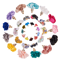 SUNNYCLUE Handmade Cloth Pendant Decorations, with Metal Findings, Flower, Mixed Color, 20~25x34~40x8~12mm, Hole: 3x1mm; 25~30x28~35mm, Hole: 2mm; 24~26x24~25mm, Hole: 2mm;  60pcs/set