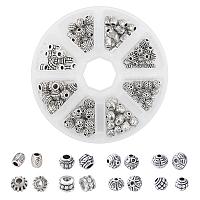 Tibetan Style Alloy Beads, Mixed Shapes, Antique Silver, 160pcs/box