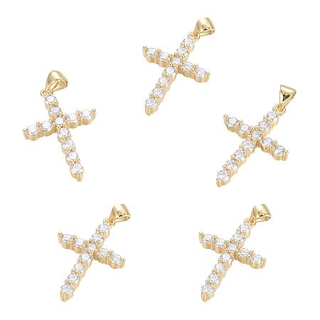 Brass Micro Pave Clear Cubic Zirconia Pendants, Cross, Golden, 26.5x17.5x3.5mm, Hole: 3.5x4.5mm; 5pcs/box