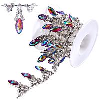 Gorgecraft Glass Rhinestone Cup Chains, Tassel Chains, with Horse Eye Iron Resin Rhinestone, for Wedding Dress Decoration, with Plastic Spools, Silver, 30mm, 1yard