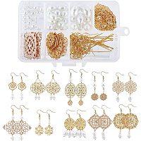 SUNNYCLUE DIY Filigree Earring Making Kits, include Brass Filigree Joiner Findings & Earring Hooks, Alloy Linking Rings, Glass Pearl Beads, Iron Pin, Golden