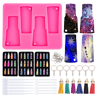 Olycraft DIY UV Resin Epoxy Resin Keychain Jewelry Making, with Silicone Molds, Laser Shining Nail Art Glitter, Faux Suede Tassel Pendant Decorations, Dropper, Mixed Color, 1mm