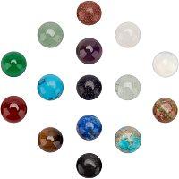 SUNNYCLUE Gemstone Cabochons, Half Round, 10x3~5mm; 15 materials, 2pcs/material, 30pcs/box