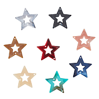 Acrylic Links, Imitation Gemstone Style, Star, Mixed Color, 42.5x44.5x2.5mm, Hole: 2mm; about 117pcs/250g