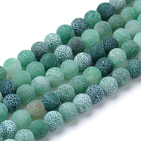 Arricraft Natural & Dyed Crackle Agate Bead Strands, Frosted Style, Round, Green, 8mm, Hole: 1mm, about 47pcs/strand, 15.5 inches