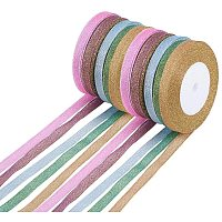 Polyester Organza Ribbon, Sparkle Ribbon, Mixed Color, 10mm; about 25yards/roll, 10rolls/set