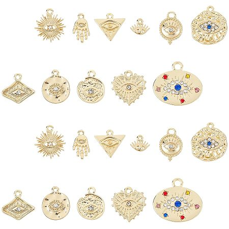 SUNNYCLUE Alloy Pendants, with Crystal Rhinestone, Cadmium Free & Nickel Free & Lead Free, Hammered, Mixed Shapes, Real 18K Gold Plated, 22pcs/box