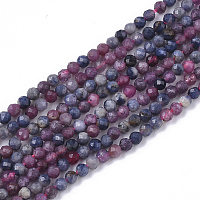 ARRICRAFT Natural Red Corundum/Ruby and Sapphire Beads Strands, Faceted, Round, 2.5mm, Hole: 0.5mm, about 160pcs/strand, 15.55 inches(39.5cm)