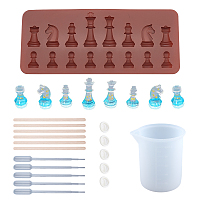 SUNNYCLUE Chess Silicone Mold Kits, with 100ml Measuring Cup Silicone Glue Tools, Disposable Plastic Transfer Pipettes and Birch Wooden Craft Ice Cream Sticks, Mixed Color, 20.8x8.8x0.9cm; Inner: 2.2~4.7cm