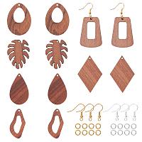 Olycraft DIY Dangle Earring Making Kits, include Undyed Walnut Wood Pendants, Brass Earring Hooks, Brass Jump Rings, Mixed Shapes, Golden & Silver, Pendants: 12pcs/box