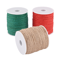 Earthy Colored Hemp Cord, Hemp String, Hemp Twine, for DIY Macrame Crafting, Mixed Color, 2mm; 100m/roll, 3 colors, 1roll/color, 3rolls
