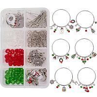 SUNNYCLUE DIY Bangle Making, with Adjustable Iron Bangle and Alloy Enamel Pendants, Christmas Theme, Mixed Color, Boxes: 11x7x3cm