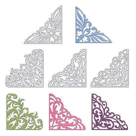 GLOBLELAND Carbon Steel Cutting Dies Stencils, for DIY Scrapbooking/Photo Album, Decorative Embossing DIY Paper Card, Corner Pattern, Matte Platinum Color, 85x85mm, 4 patterns, 1pc/pattern, 4pcs/set