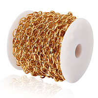 Unwelded Aluminum Cable Chains, for Jewelry Making, with Plastic Spools, Gold, 12x9.2x2x1mm, 12.5m/roll