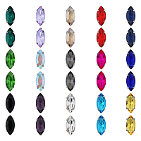 Olycraft Sew on Rhinestone, Glass Rhinestone, with Platinum Tone Brass Prong Settings, Garments Accessories, Faceted, Horse Eye, Mixed Color, 15x7x5mm, Hole: 0.8~1mm, 150pcs/box