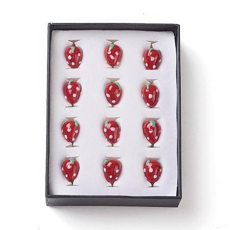 ARRICRAFT 1 Box(12pcs) Strawberry Handmade Lampwork Glass Beads Red, 12~13x17~18mm, Hole: 2mm