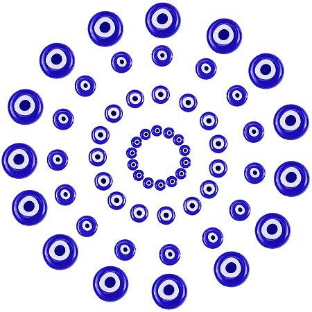 Handmade Evil Eye Lampwork Flat Round Beads, Blue, 6~10x3~5mm, Hole: 1mm; 120pcs/box